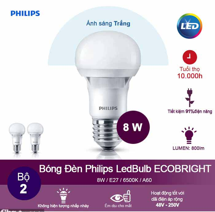 Đèn Ecobright Led bulb 8-100W E27 A60
