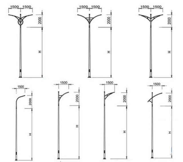 Chiều cao của cột đèn chiếu sáng
