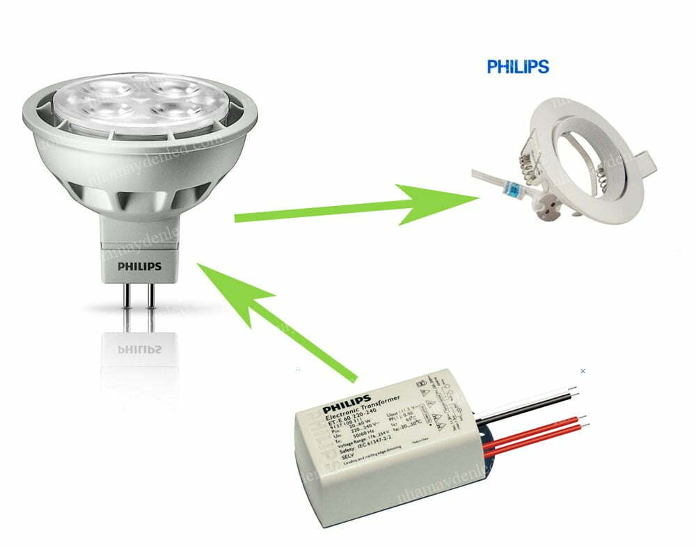 Cách đấu đèn Essential LED 4-35W MR16 24D Philips