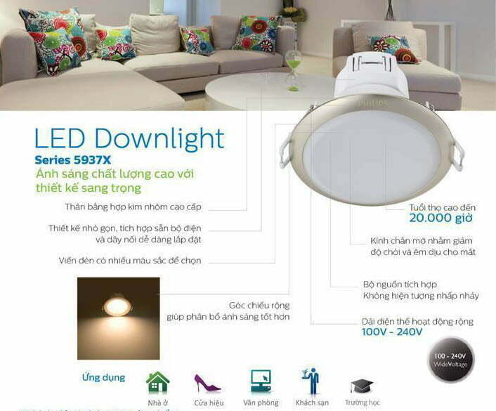 Đèn âm trần 59370 3.5w Philips cho chất lượng chiếu sáng đảm bảo