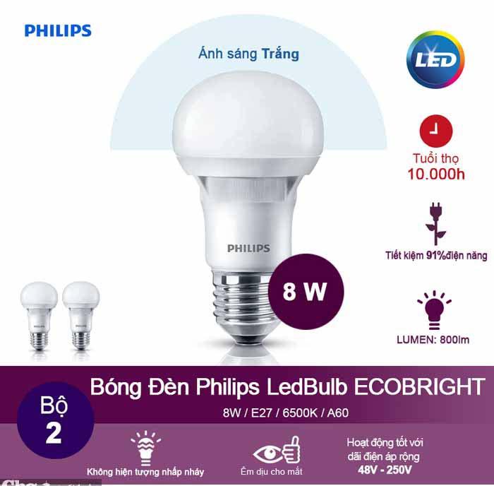 Đèn Ecobright Led bulb 8-100W E27 A60