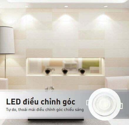 Đèn led âm trần 5W chỉnh góc chiếu sáng