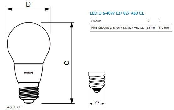 Kích thước đèn led bulb Philips Master DIM DT 6-40W E27 A60