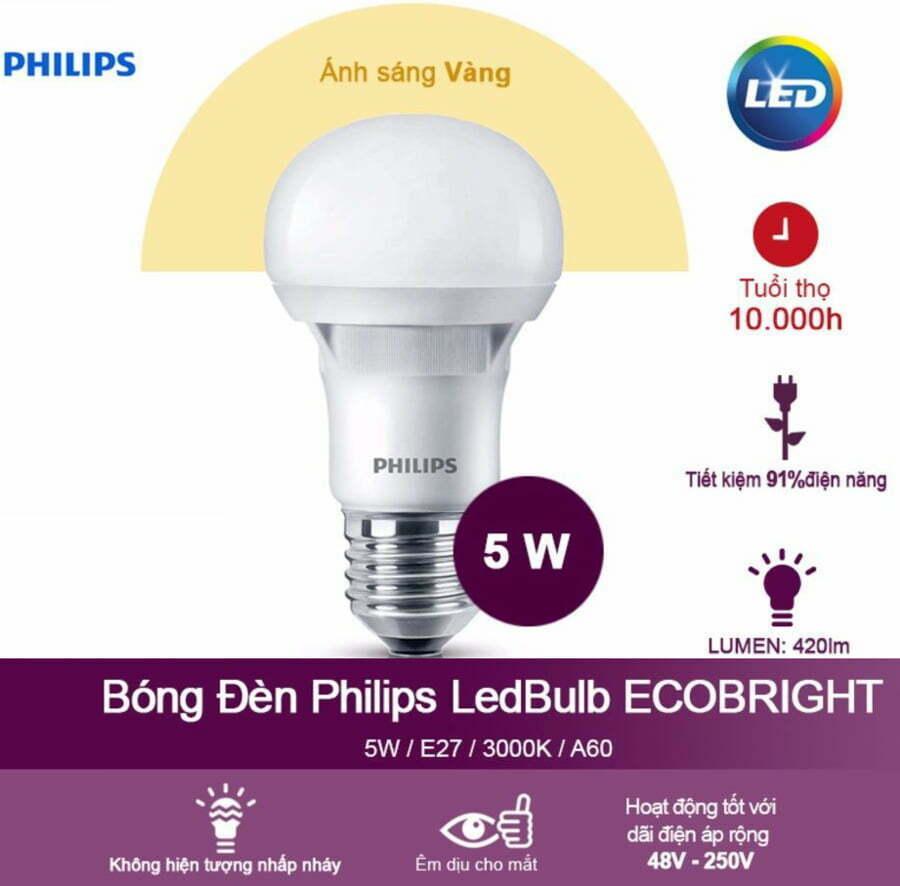 Đèn Ecobright Ledbulb 5-60W E27 A60