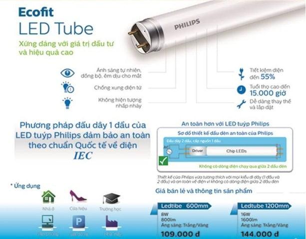 Ưu điểm của đèn tuýp 8w L600 Ecofit Philips